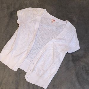 White short sleeve button down sweater